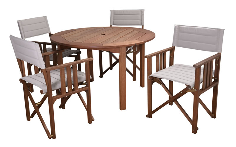 Rio Eucalyptus 47 Round Table With Directors Chairs Off White