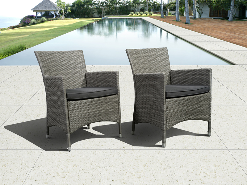 Mandeville Synthetic Armchairs Grey with Cushions