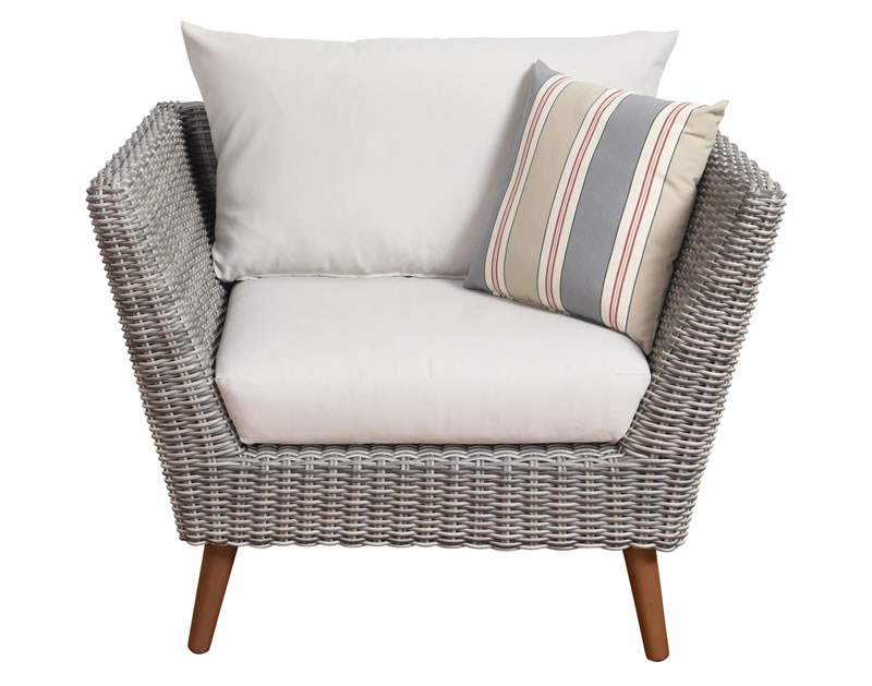 Charmant Ocho Rios Synthetic Armchair With Off White Cushions