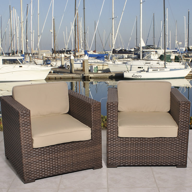 Port Antonio Synthetic Club Chairs with Beige Sunbrella