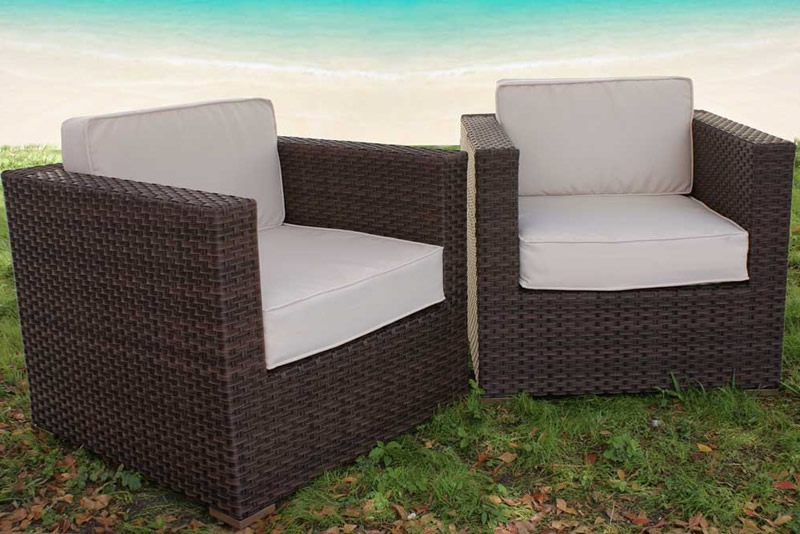 Port Antonio Synthetic Club Chairs with Off white Cushions