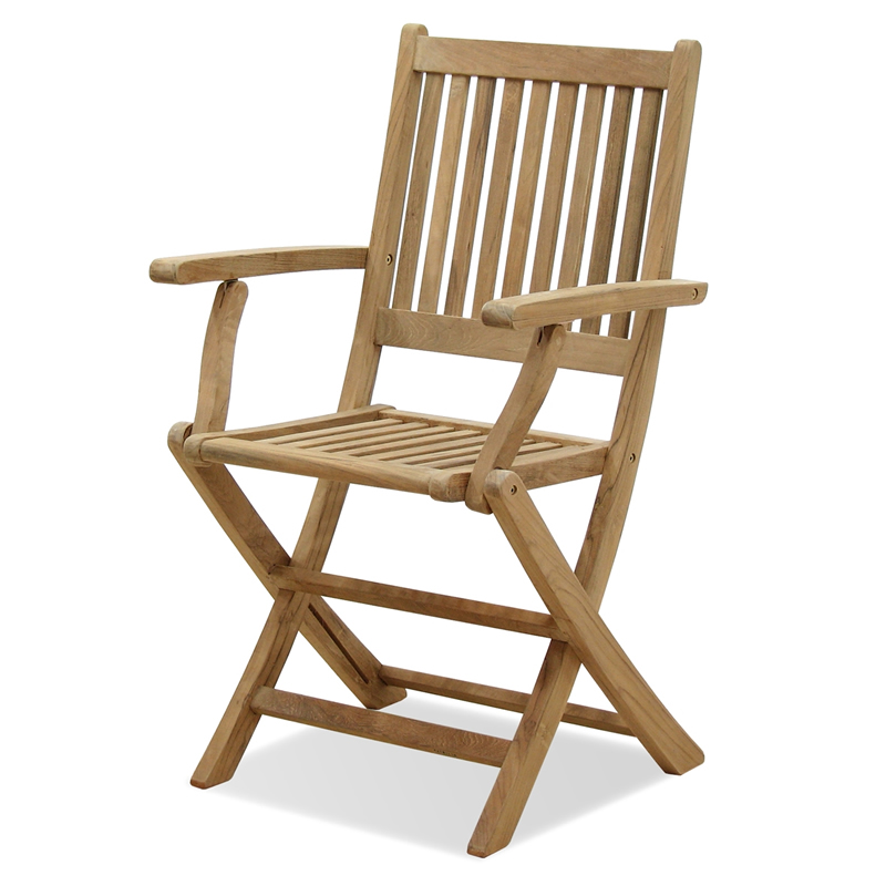 Bali Small Teak Folding Chair With Arms