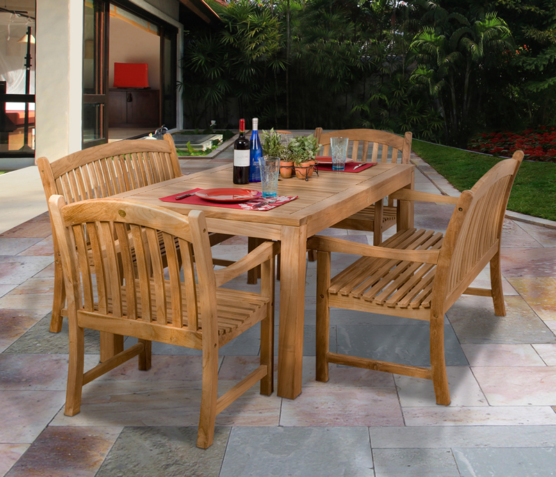 Design Center Teak Indonesian Patio And Outdoor Furniture Miami - Teak table with benches