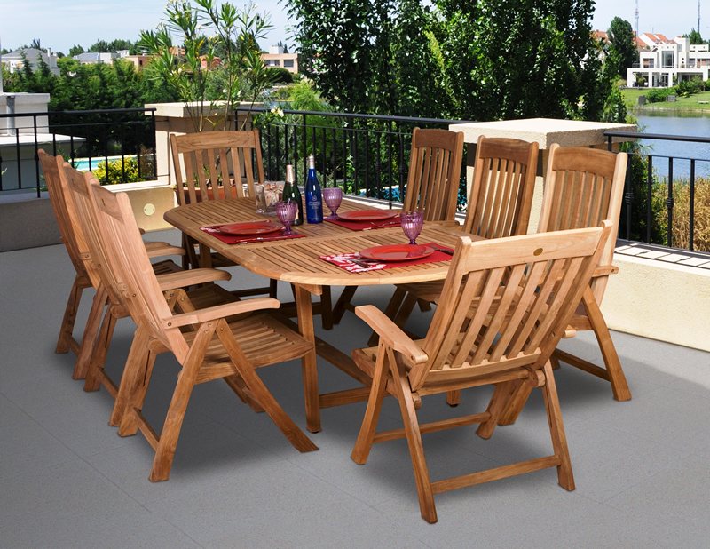 Bali Teak Oval Expandable 6u0027 To 8u0027 Table With Adjustable Chairs