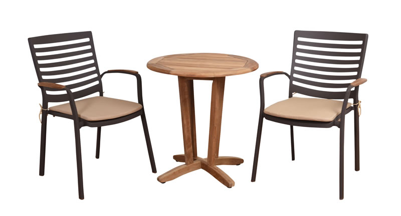 Bali Teak And Aluminum Dining Chairs With Teak Table