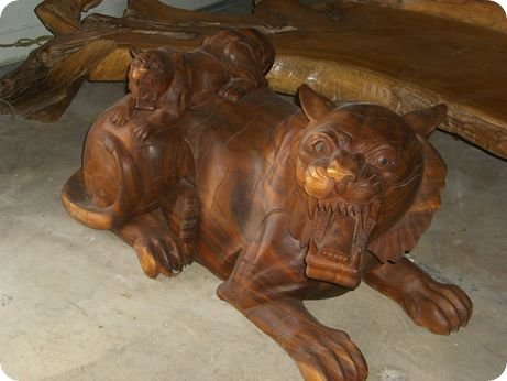 Carved Tiger Coffee Table