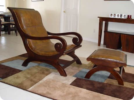 Teak And Leather Plantation Chair   Andrew Hall Style